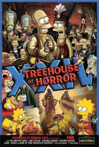 Wie jedes Jahr gibt es auch zur 24. Treehouse of Horror-Folge wieder ein eigenes Poser-Motiv.