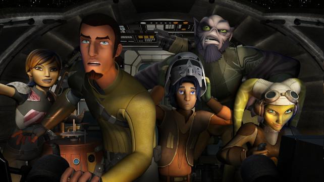 Die Besatzung der Ghost: Sabine, Chopper, Kanan, Ezra, Zeb und Hera.