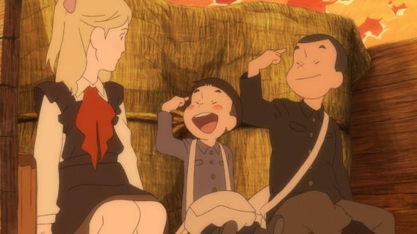 Junpei und Kanta stellen sich Tanya mit den Namen der Protagonisten ihres Lieblingsbuchs vor - Giovanni und Campanella.